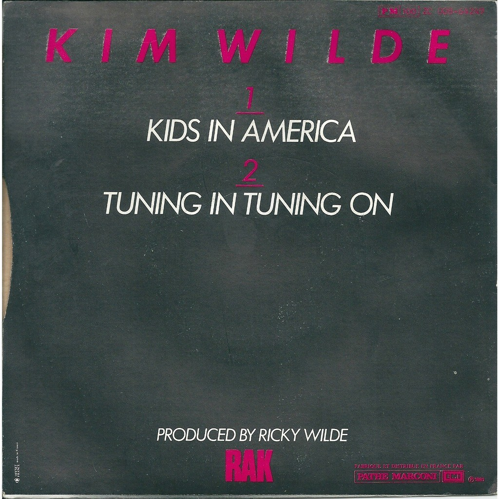 Kim Wilde Kids in America - 1st ed with slighty diff back ps