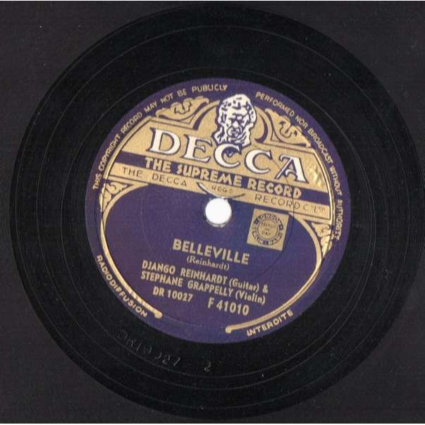 DJANGO REINHARDT . STEPHANE GRAPPELLY BELLEVILLE - LIZA