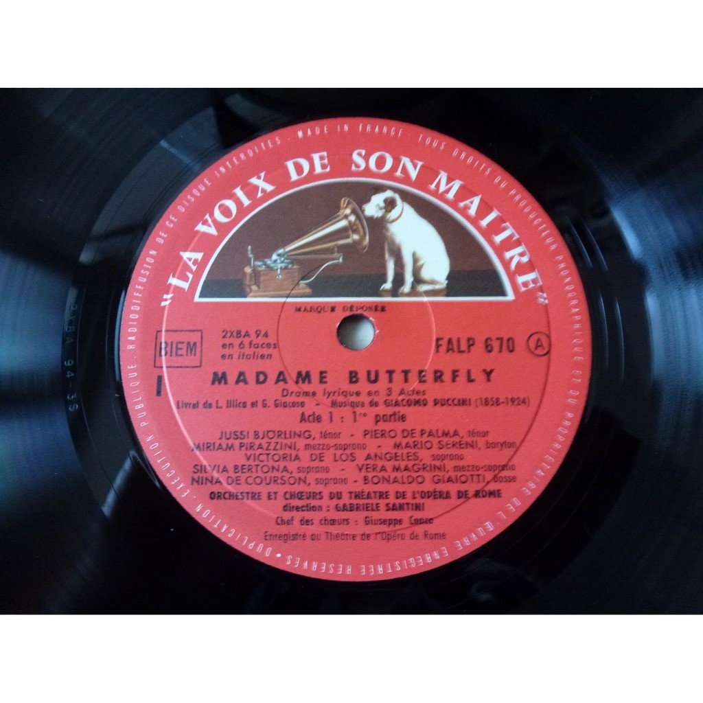 Puccini - Björling - Pirazzini - Sereni Madama Butterfly, Victoria de los Angeles, gabriele santini - ( 3 lp set box stéréo near mint )