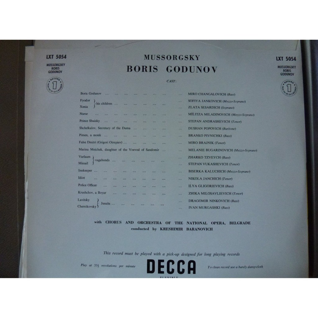 Mussorgsky Boris Godunov - national opera belgrade dir kreshimir baranovich - ( 3 lp set box )