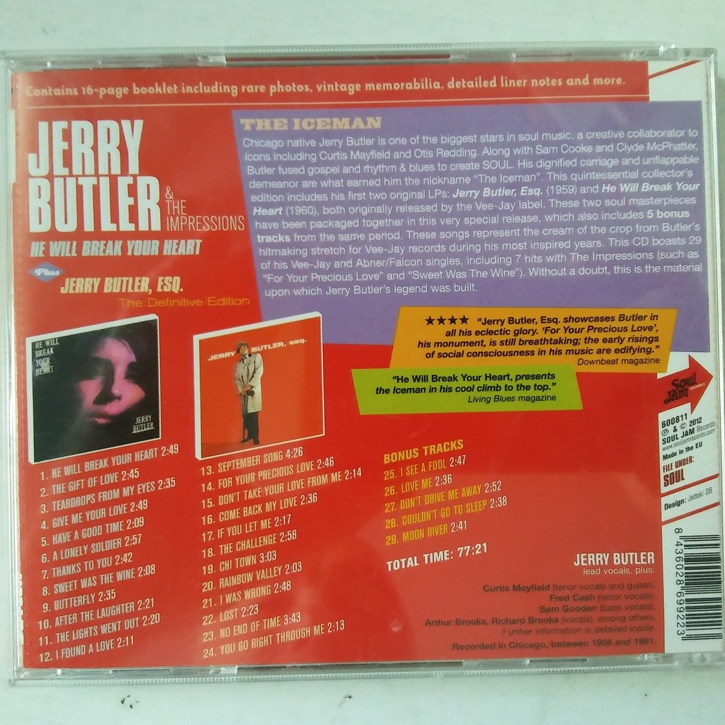 Jerry Butler & The Impressions He Will Break Your Heart