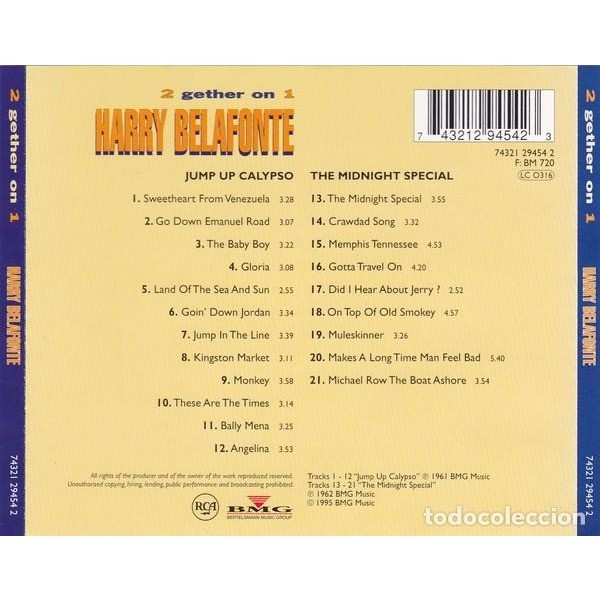HARRY BELAFONTE JUMP UP CALYPSO / THE MIDNIGHT SPECIAL