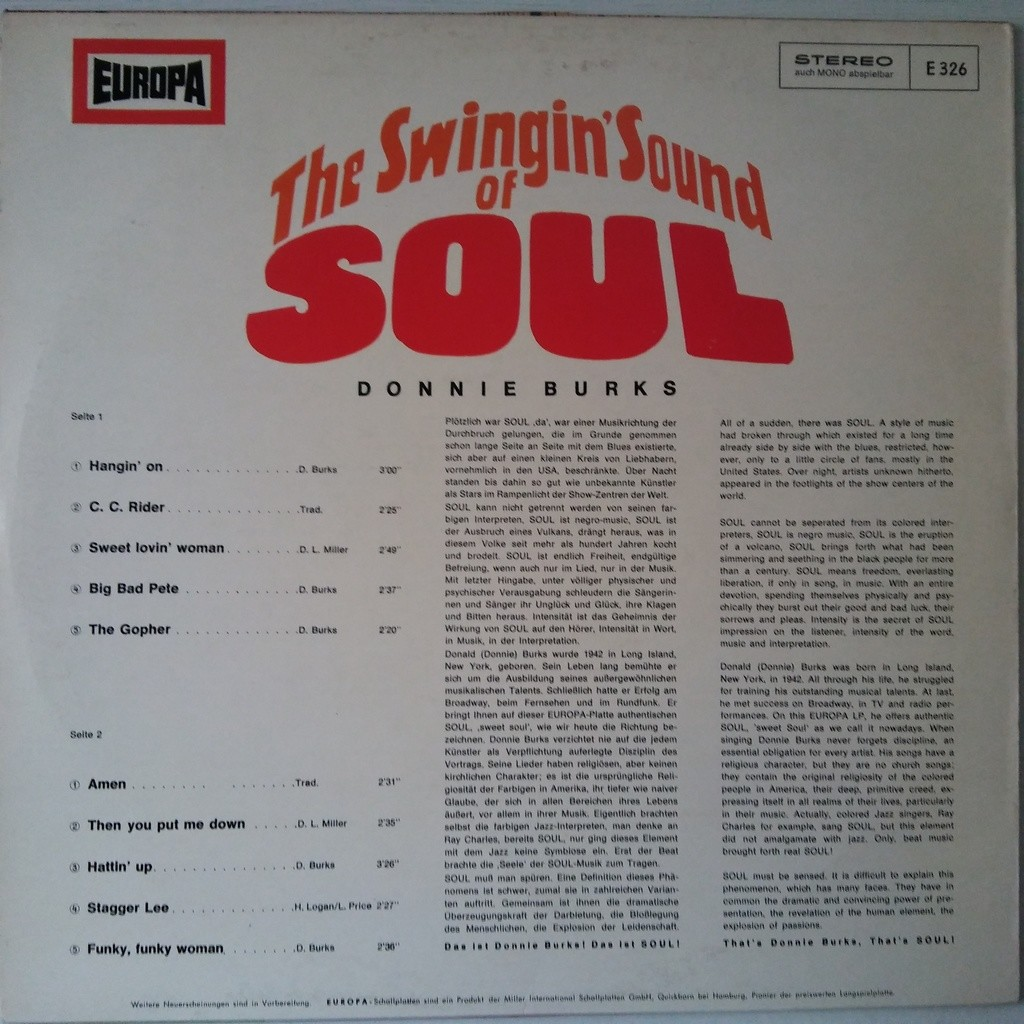 Donnie Burks The Swingin' Sound Of Soul