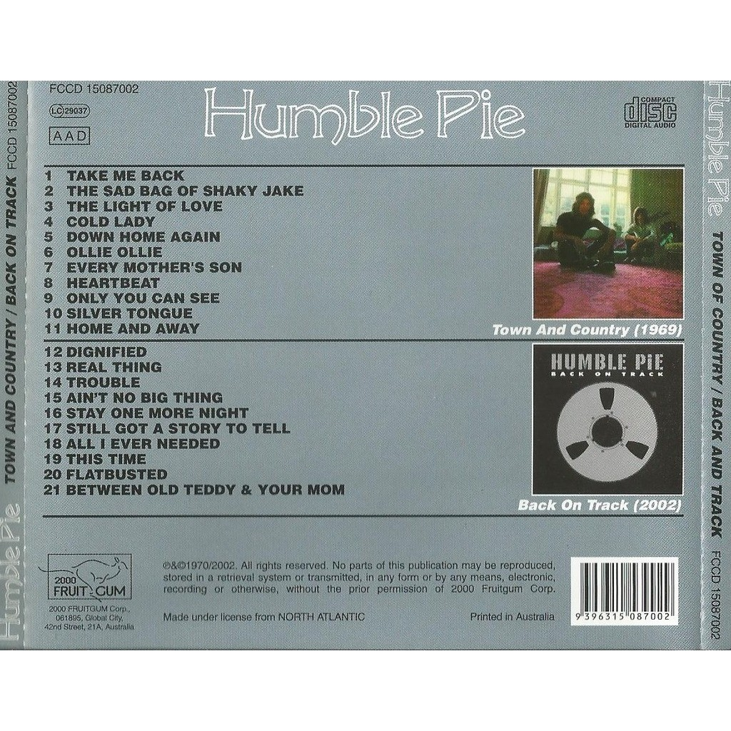 Humble Pie Town And Country / Back On Track