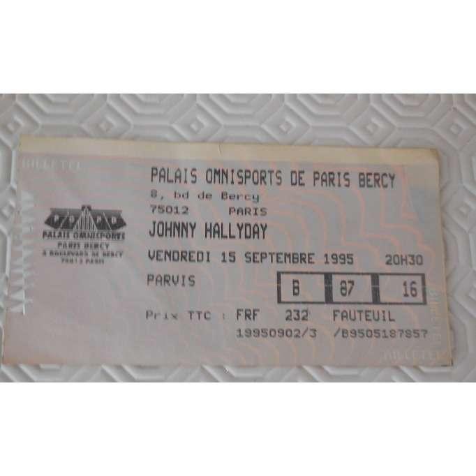johnny hallyday ticket de concert 15/09/1995 bercy