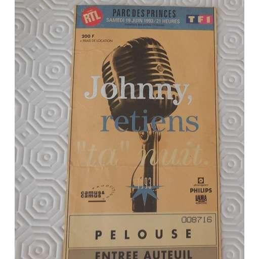 johnny hallyday ticket de concert 15/06/1993 parc des princes j hallyday