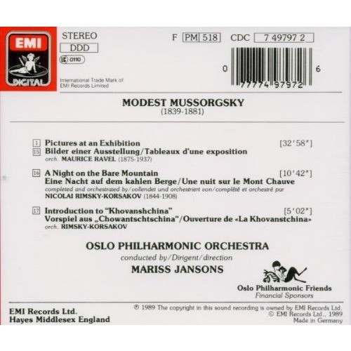 Mussorgsky / Mariss Jansons Pictures at an Exhibition - A Night on the Bare Mountain - Introduction to  Khovanshchina