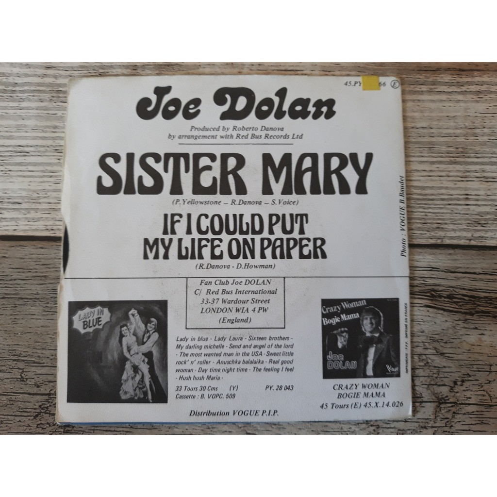 JOE DOLAN SISTER MARY + IF I COULD PUT MY LIFE ON PAPER