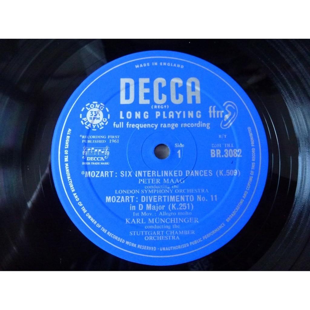 peter maag - karl münchinger Mozart : 6 dances k.509 - divertimento in d major k.251 - ( near mint condition )