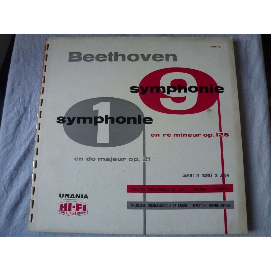 arthur rother, berlin - hermann abendroth, leipzig Beethoven : symphonies n°1 & 9 - ( very rare double lp 12 gatefold)