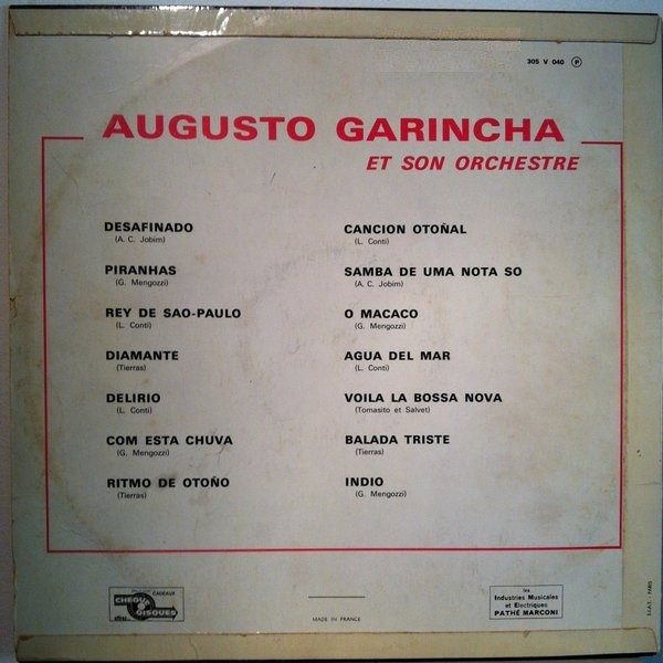 Augusto GARINCHA et Son ENSEMBLE Bossa Nova (rare only French press - 1960s - Fleepback cover)