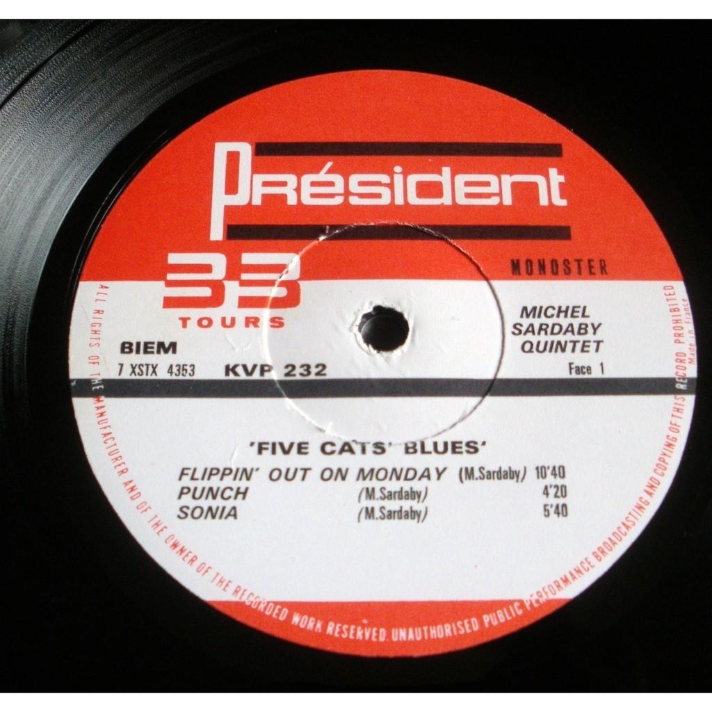 Michel SARDABY QUINTET Five cats' blues (rare original French press - 1969 - Fleepback cover)