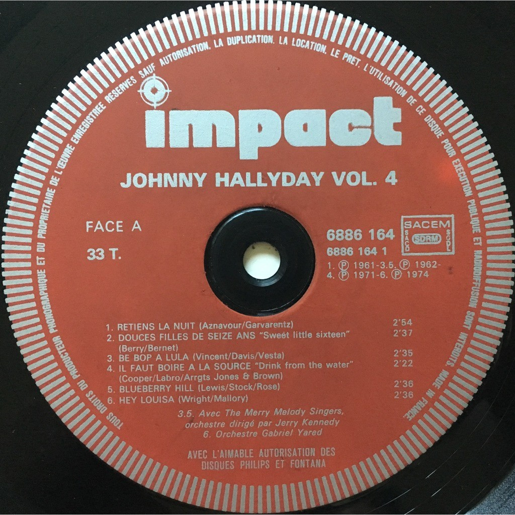 JOHNNY HALLYDAY - VOLUME 4 (FR. PRESSING 12 VINYL LP MONO-STEREO RED IMPACT LBL)