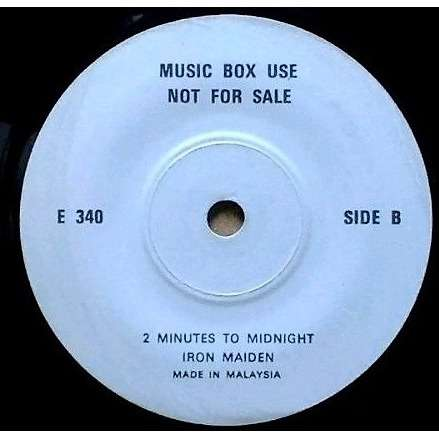 iron maiden 2 Minutes To Midnight (Malaysia 1985 1-trk closed w/label 7single promo)