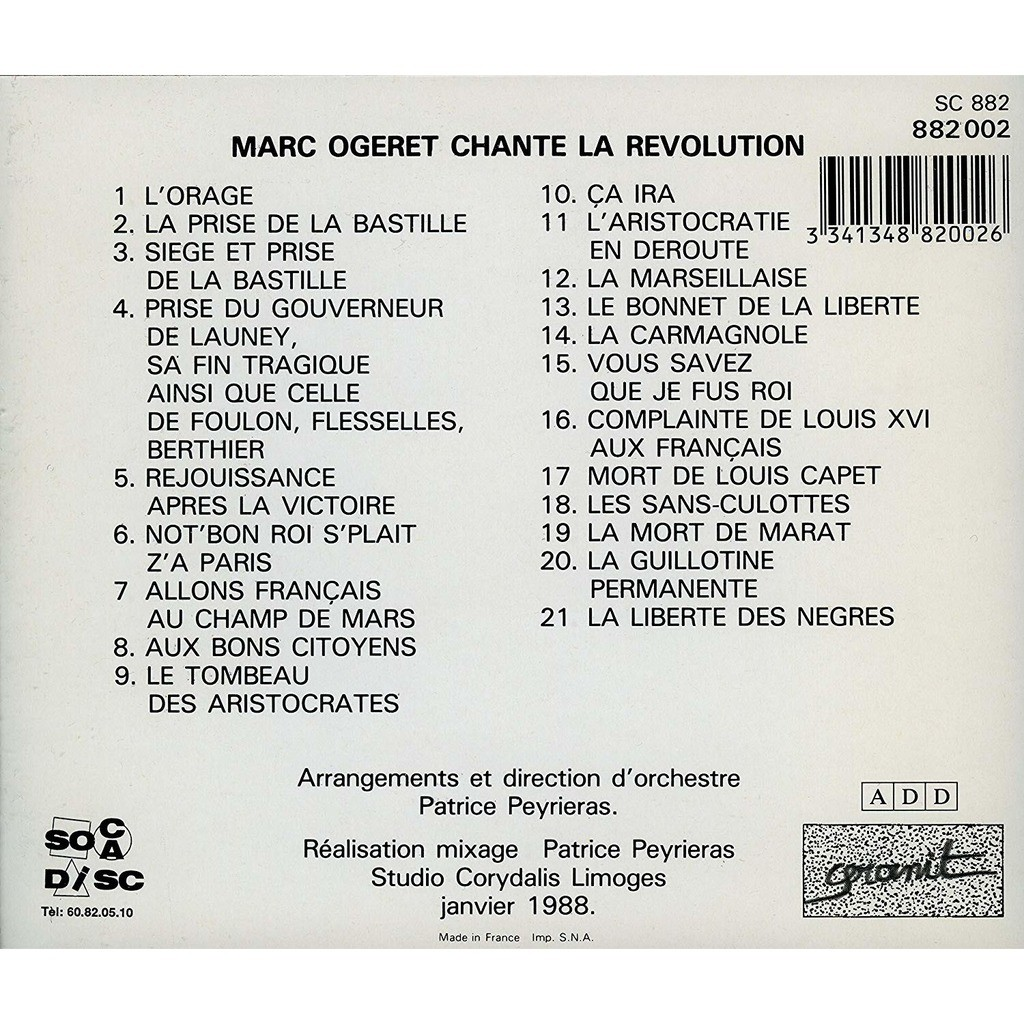 Marc Ogeret Marc Ogeret chante la Révolution