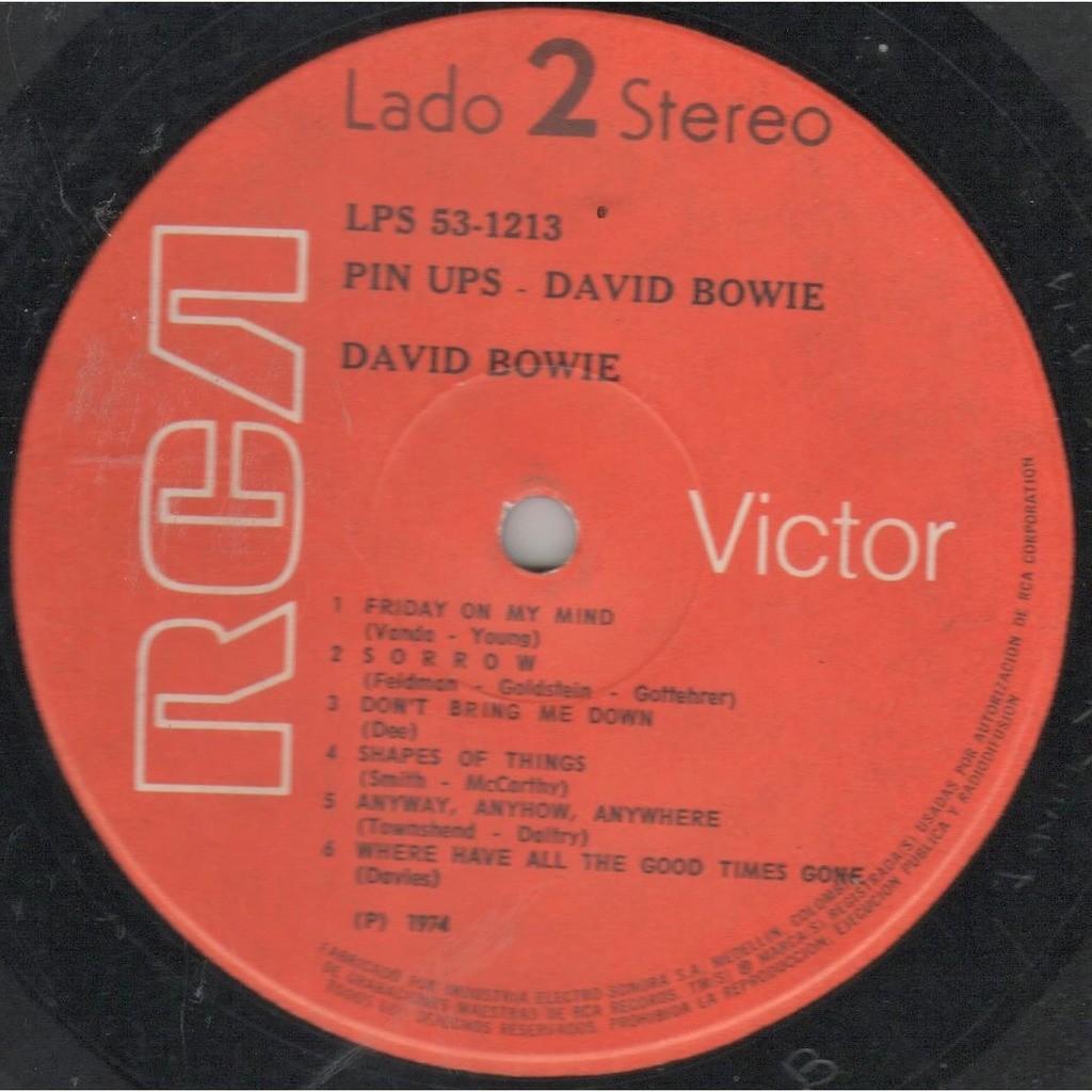 David Bowie Pinups (Colombia 1974 original 12-trk LP on RCA-industria Electro Sonora orange lbl full ps!)