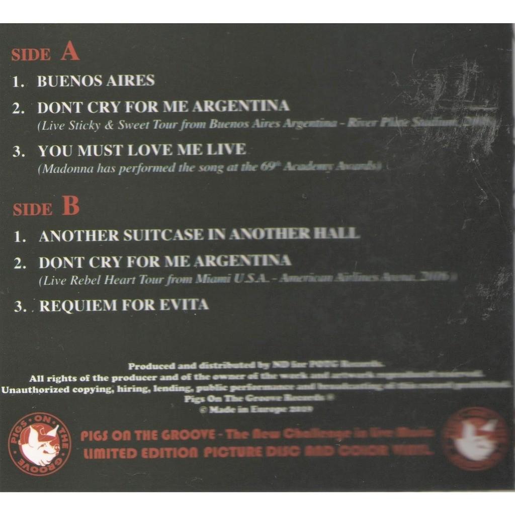Madonna Evita Anniversary (Ltd 200 no'd copies 6-trk LP BLU wax on POTG lbl gf ps+insert!)