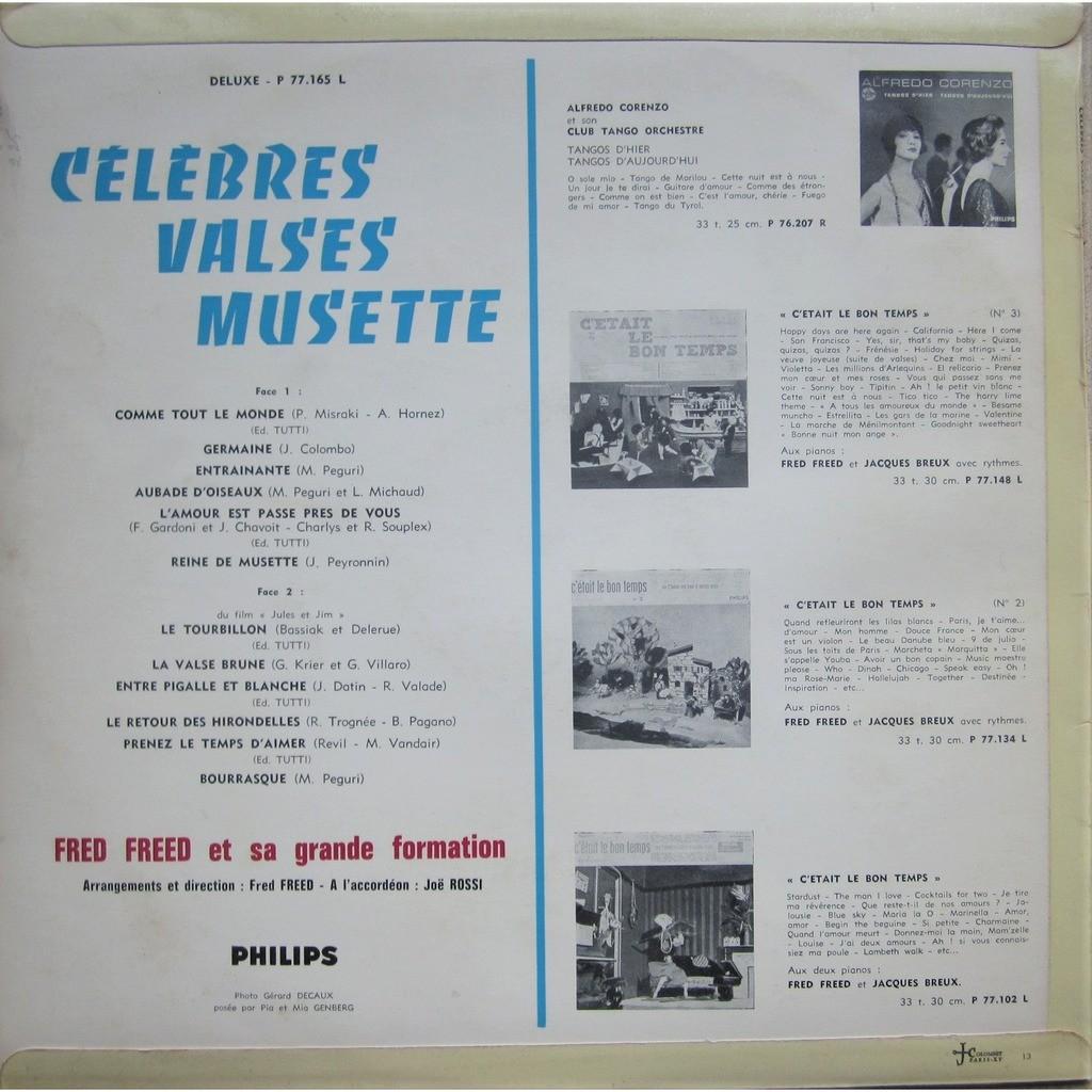 fred freed et sa grande formation célèbres valses musette