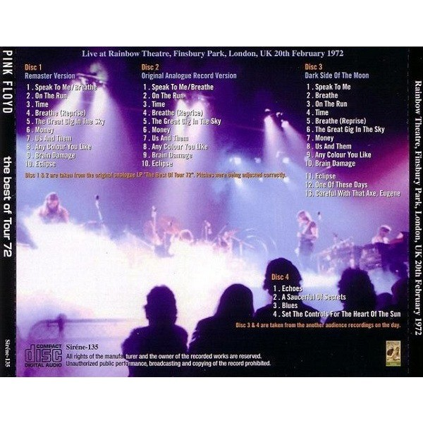 pink floyd The Best Of Tour 72 - Live at Rainbow Theatre London February 1972 - 4CD - 200 copies only