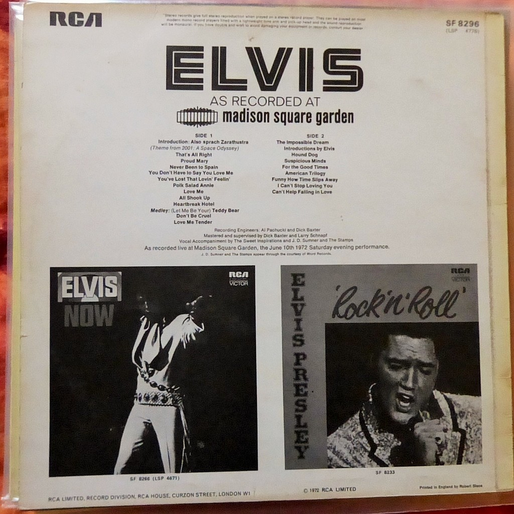 ELVIS PRESLEY AS RECORDED AT MADISON SQUARE GARDEN