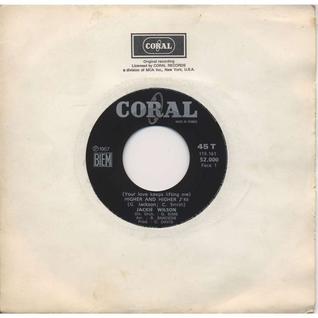 JACKIE WILSON Higher and higher / I'm the one to do it (producer Carl Davis) / JUKE-BOX