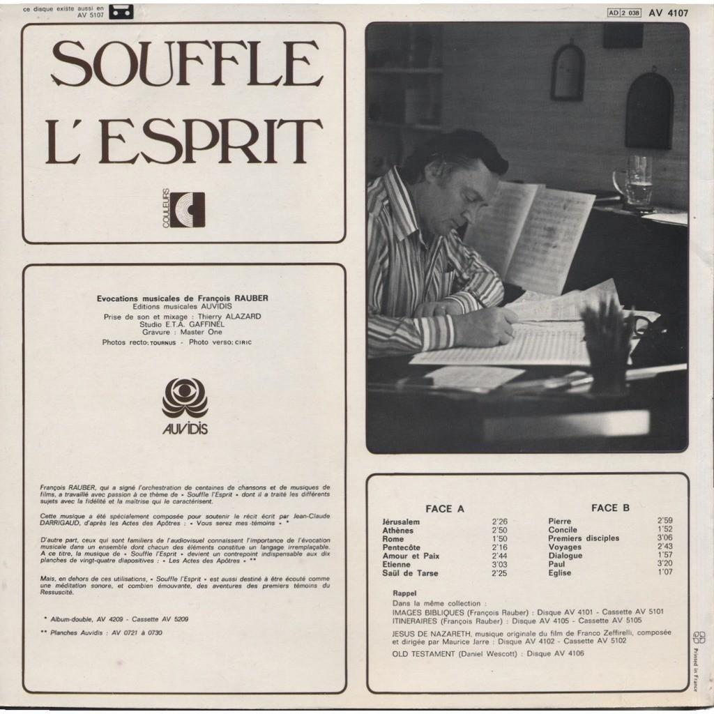 FRANCOIS RAUBER Souffle l'Esprit évocations musicales autour du thème des Actes Des Apotres