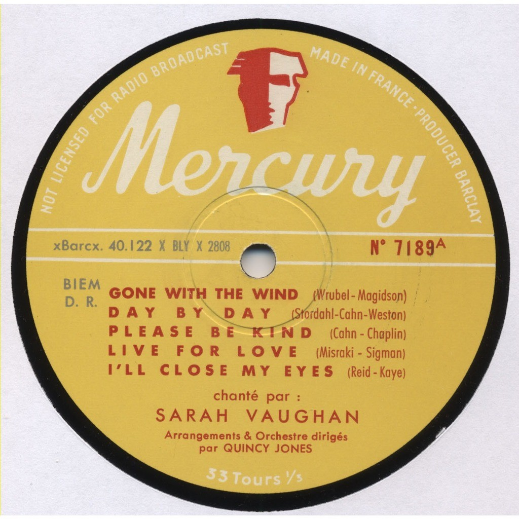 SARAH VAUGHAN / Quincy Jones Arrangements et Orchestre Dirigés Par Quincy Jones (Vaughan and Violins enregistré à Paris) MONO