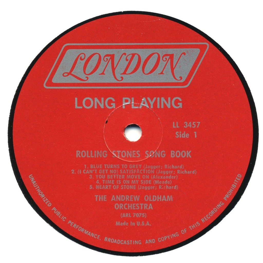 THE ANDREW (Loog) OLDHAM ORCHESTRA The Rolling Stones Songbook - instrumental versions of the Stones' biggest hits / ORIGINAL USA MONO
