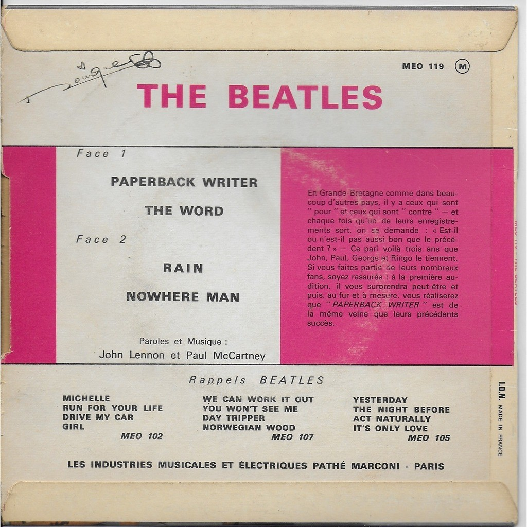the beatles Paperback Writer Rain The word Nowhere man