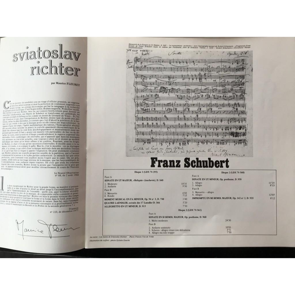 SCHUBERT / SVIATOSLAV RICHTER SONATES POUR PIANO