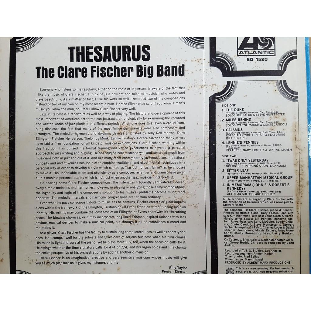 Fischer Clare Big Band The Thesaurus