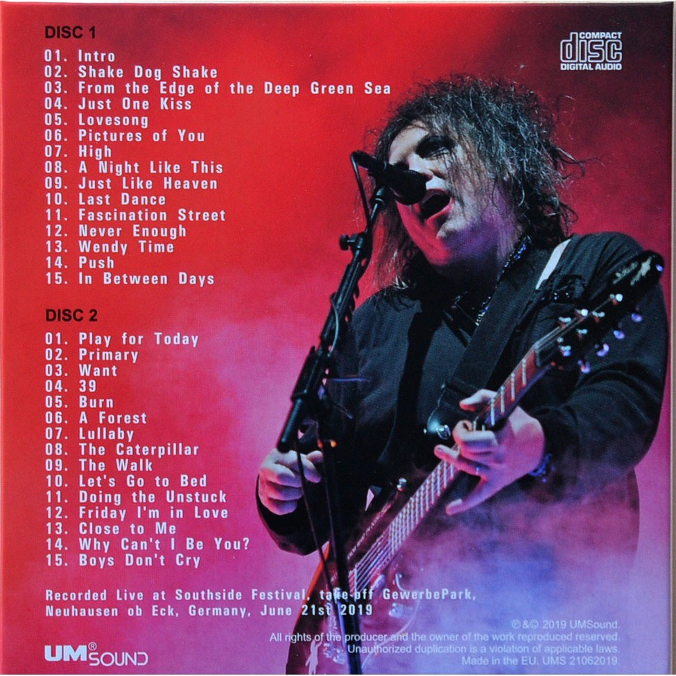 THE CURE Live at Southside Festival Germany 21 June 2019 Summer Tour 2CD cardBox