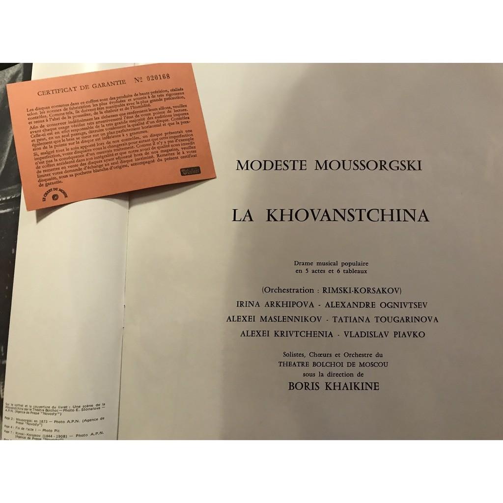 MOUSSORGSKI / BORIS KHAIKINE LA KHOVANSTCHINA