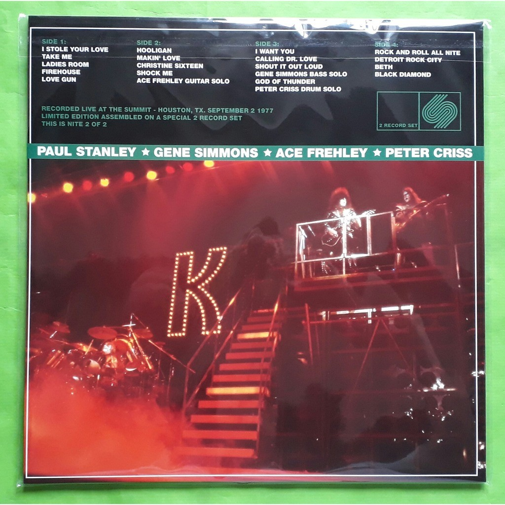 KISS THE SUMMIT-HOUSTON,TX.SEPTEMBER 2-1977 -(Limited edition)(2LP)(Black vinyl)(2019)(Holland)