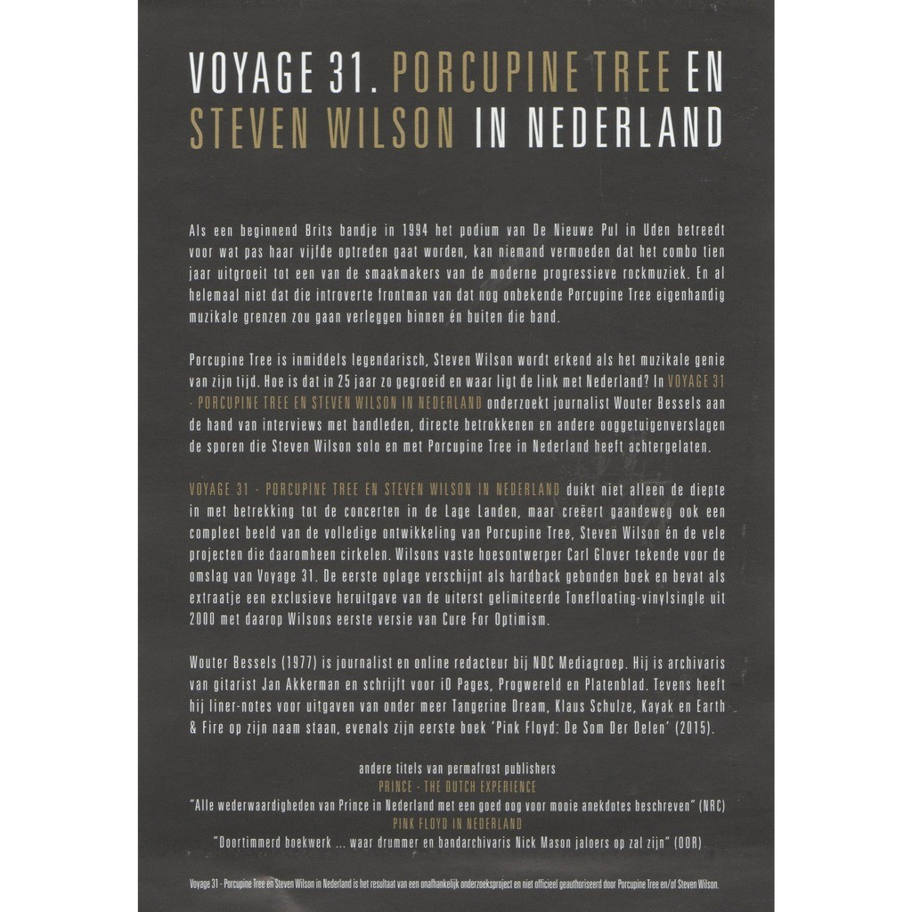 Porcupine Tree Voyage 31 (Holland 2019 original 'book release' double sided promo flyer!)
