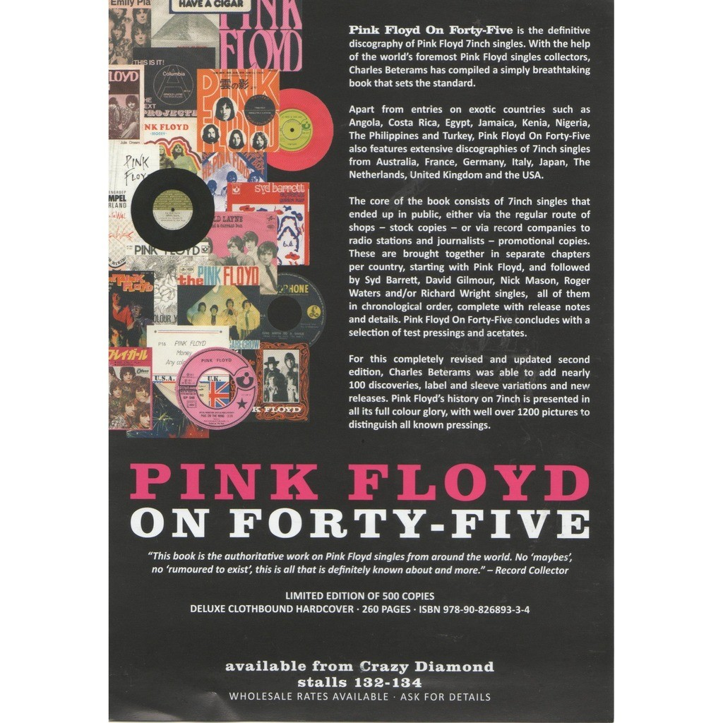Pink Floyd On Forty-Five (UK 2019 original 'book release' double sided promo flyer!!)