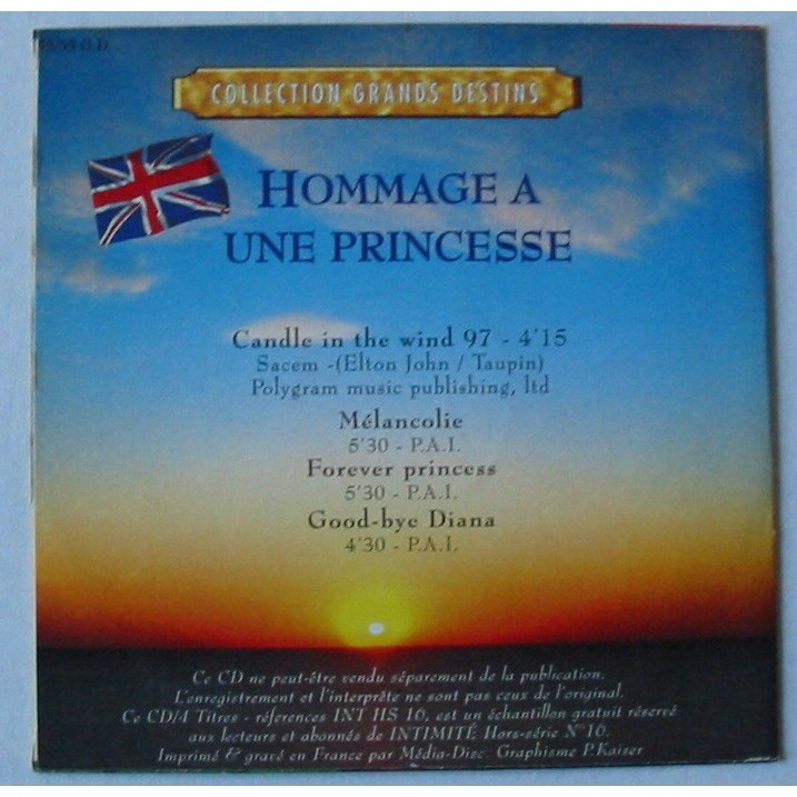 LIGHT PHILARMONIC ORCHESTRA CANDLE IN THE WIND 97 HOMMAGE A UNE PRINCESSE