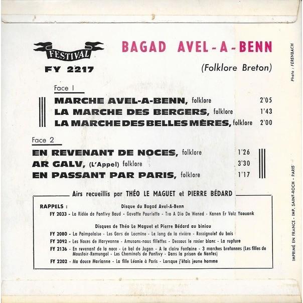 BAGAD AVEL-A-BENN Marche avel-a-benn + 5 (Original French press - 1960s)