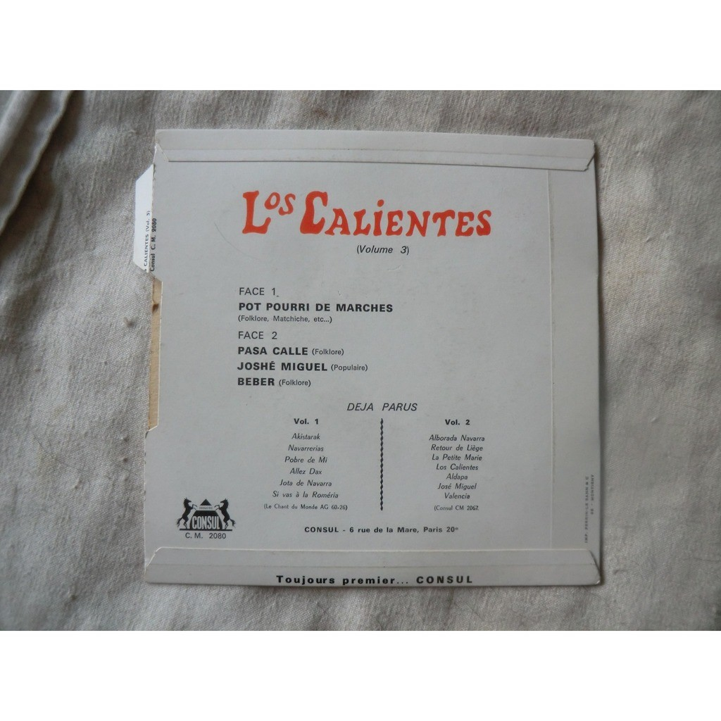 Los CALIENTES Dax - n°3 (Very rare French EP - 1960s - Perfect conditions with tag edge)