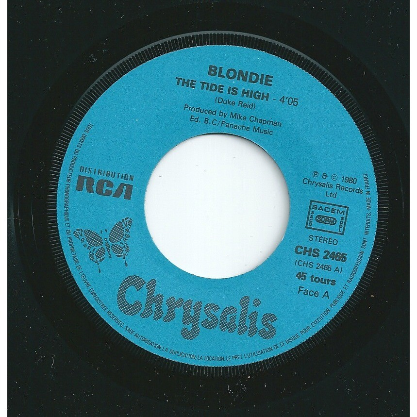 Blondie The tide is high - paper label