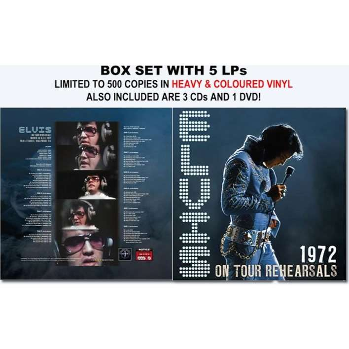 elvis presley 001 box 5 LP + 3 cd + 1 dvd on tour rehearsals