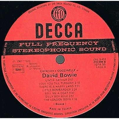 David Bowie David Bowie (French 1973 original 14-trk LP on Decca lbl absolutely unique ps)