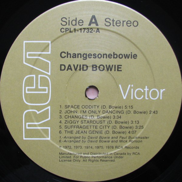 David Bowie ChangesOneBowie (Canada 1976 original 11-trk LP on RCA lbl unique 'White Maple Leaf square adì ps)