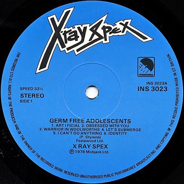X-Ray Spex Germfree Adolescents (UK 1978 original 12-trk LP on EMI Int. lbl laminated ps+card inner slv!!)