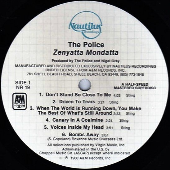 The Police Zenyatta Mondatta (USA 1981 Ltd'Half-Speed Mastered Superdisc'11-trk LP A&M-Nautilus lbl unique ps)