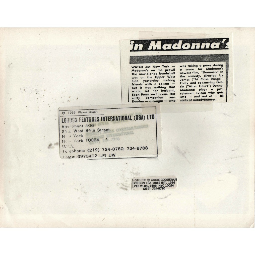 madonna Who's That Girl? #7 (Usa 1987 original 'London Features' promo photo by Angie Coqueran)