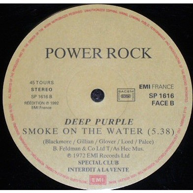 Deep Purple Smoke On The Water. (French 1992 Ltd promo-only 'Power Rock' split 12ep on EMI lbl unique ps)