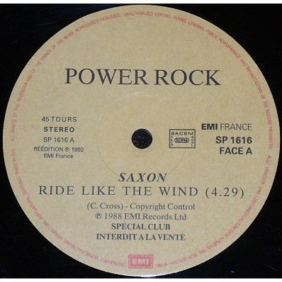 Saxon Ride Like The Wind (French 1992 Ltd promo-only 'Power Rock' split 12ep on EMI lbl unique ps)