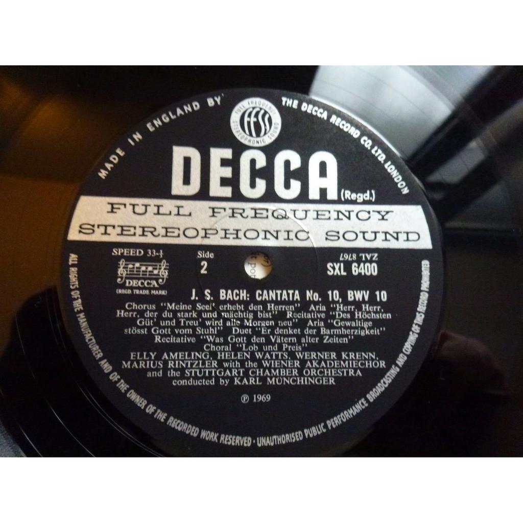 Bach Johann Sebastian / Münchinger MAGNIFICAT IN D MAJOR / CANTATA N°10 - (ameling, van bork, watts, krenn, krause) - ( near mint )