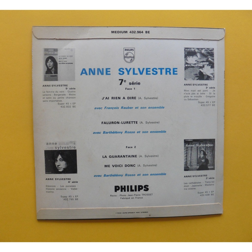 ANNE SYLVESTRE J'AI RIEN A DIRE + 3
